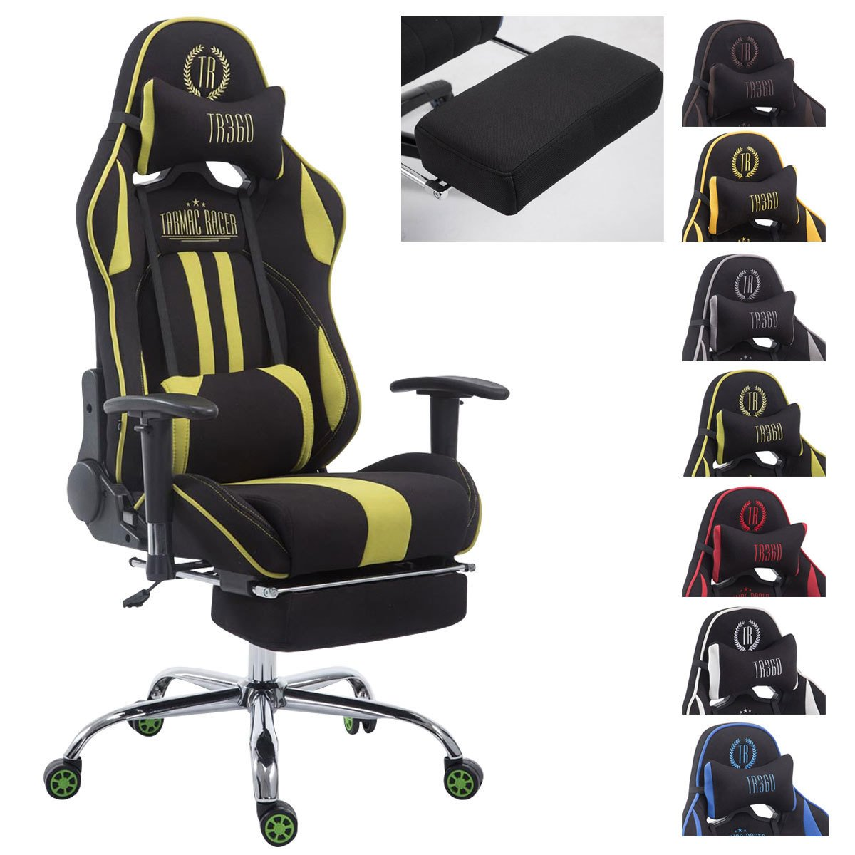 CLP Silla Racing XL Limit V2 Tapizada en Tela I Silla Gaming con Soporte Metal I Silla Oficina con Ruedas I Silla Gamer Regulable en Altura I Color: ...