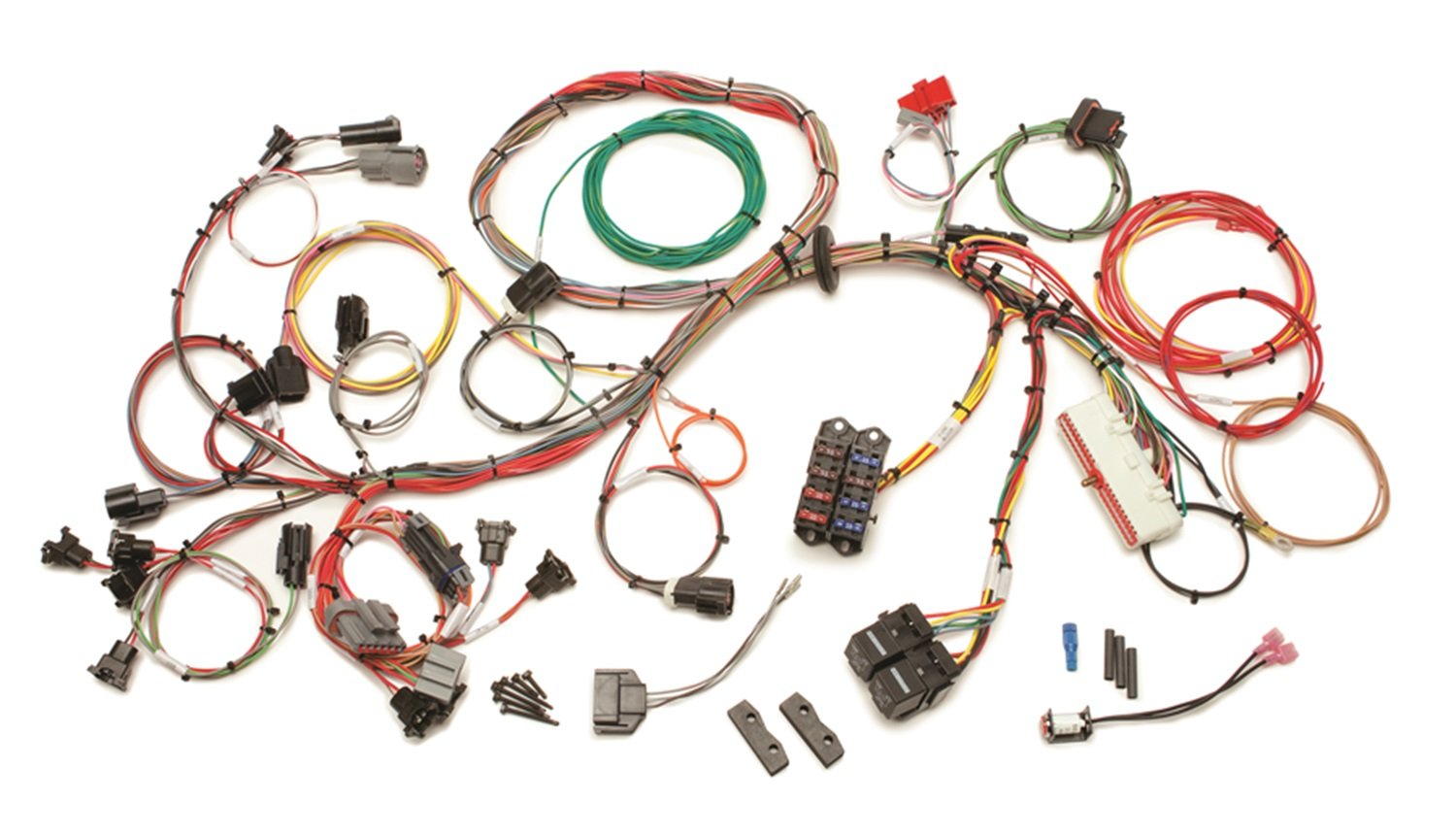 71UX1IBfleL._SL1500_ amazon com painless 60510 5 0l wiring harness automotive 1990 Mustang Wiring Harness at bakdesigns.co