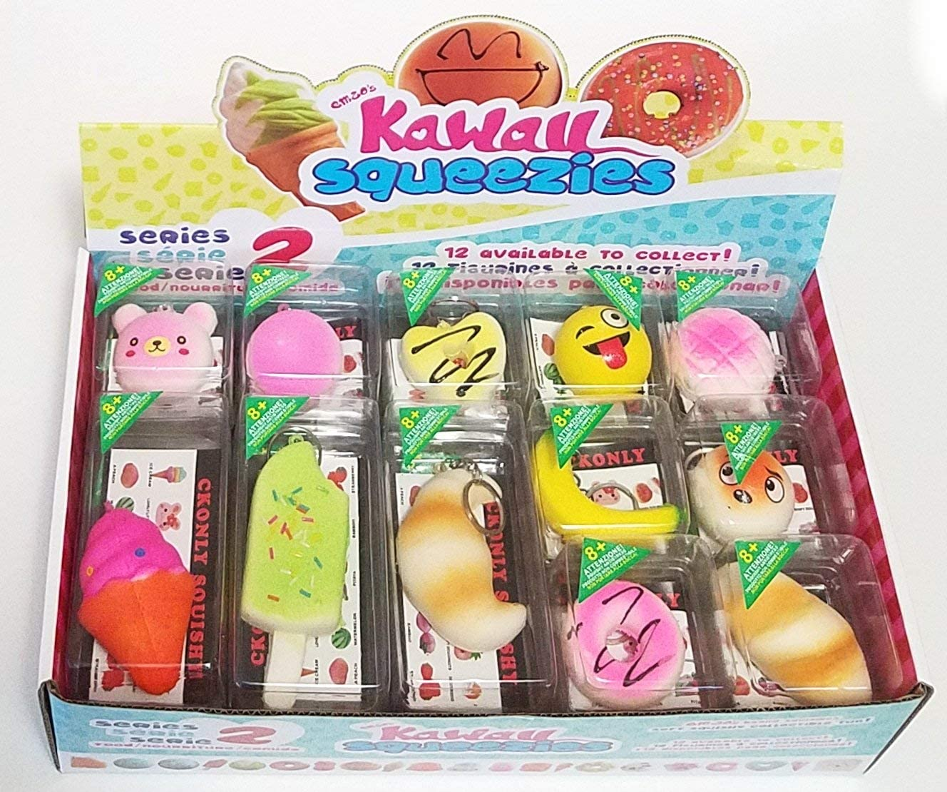 """JM Squishies-Box of 24 Pieces Slow Rising 1.5""""-4.5"""" Kawaii Cute Scented Squishy Charms Soft Ice Cream Macaroons Teddy Bears Buns Emoji Bread Key Chain Rings Straps Decompression Squeeze Toys for Kids"""