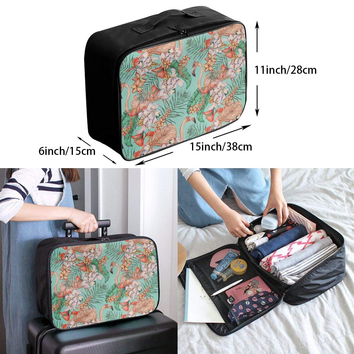 Travel Luggage Duffle Bag Lightweight Portable Handbag Flamingo Retro Floral Pattern Large Capacity Waterproof Foldable Storage Tote