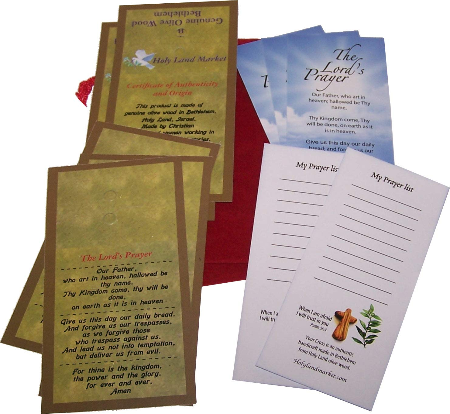 Six Olive Wood Comfort Crosses with Velvet Bags & Lord's Prayer Card - The Holding or Hand Cross (4 inches) - Large by Holy Land Market (Image #2)