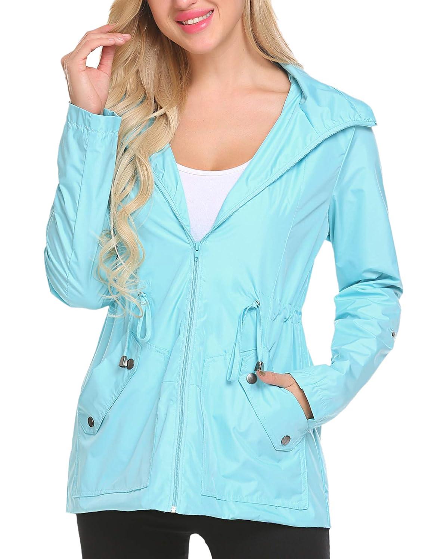 Lomon Femme Vestes Coupe-Pluie Manteaux Imperméables à Capuche Pliable Blouson avec Capuche Bleu Clair