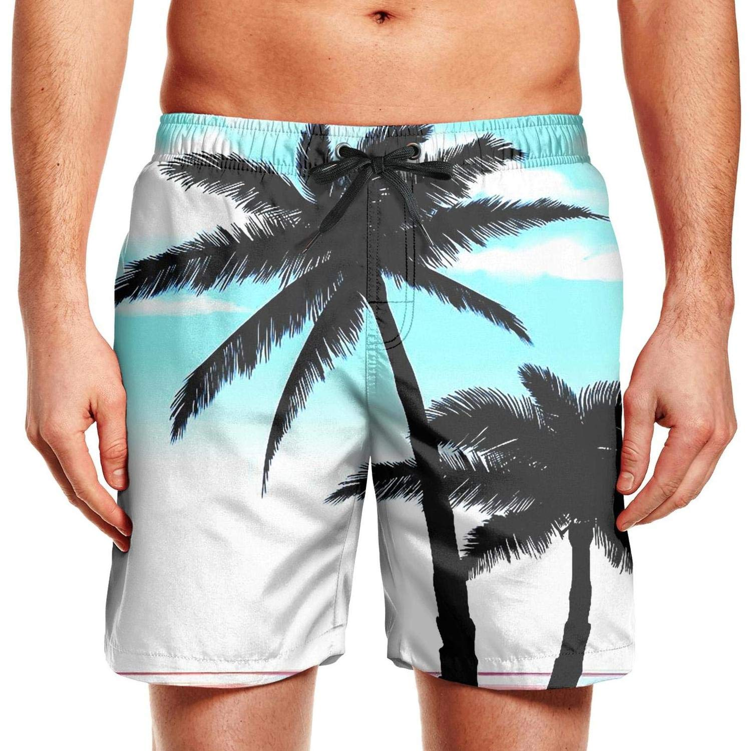 Pink Palm Tree Sunset Hawaii Mens Swimming Trunks Beach Board Shorts Fully Lined Quick Dry Tropical Short Pants Beachwear