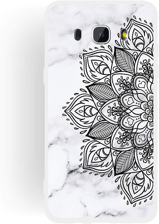 Motivo in Marmo TPU Morbida Silicone Gel Elegante Custodia con Bordo Protezione,Custodia Antiurto Anti-graffio,Fumo nel Bianco OnlyCase Cover per Samsung Galaxy J7 2016