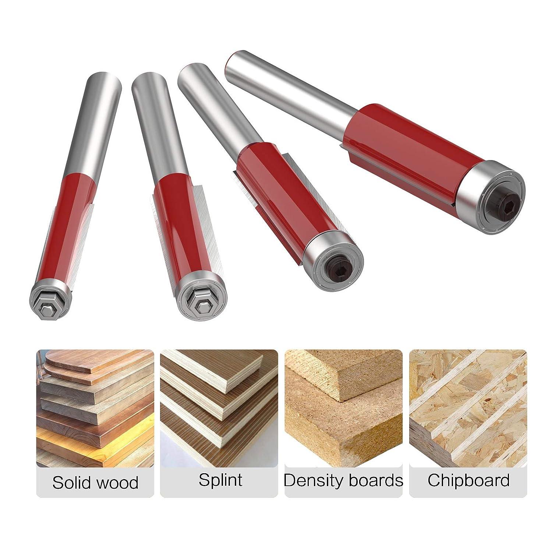 1//4 5//16 3//8 1//2 Diameter 4Pcs Router Bits and 4Pcs Spare bearings ROOCBIT Bearing Flush Trim Bit Set Woodworking Tool 1//4 Inch Shank
