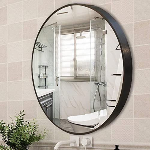 YGBH Wall Mirror for Bathroom – 24 Round Wall Mounted Decorative Mirror, Best for Vanity Washrooms Bathroom and Living Rooms- Black