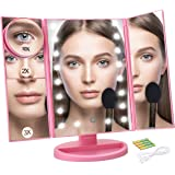 Ceenwes Makeup Mirror Trifold Touch Screen Vanity Mirror with 21 LED Lights Lighted makeup mirror with 4 Magicfly 10/3/2/1X Mirror Dual Power Supply 180°Adjustable Stand Light Up Mirror for Cosmetic