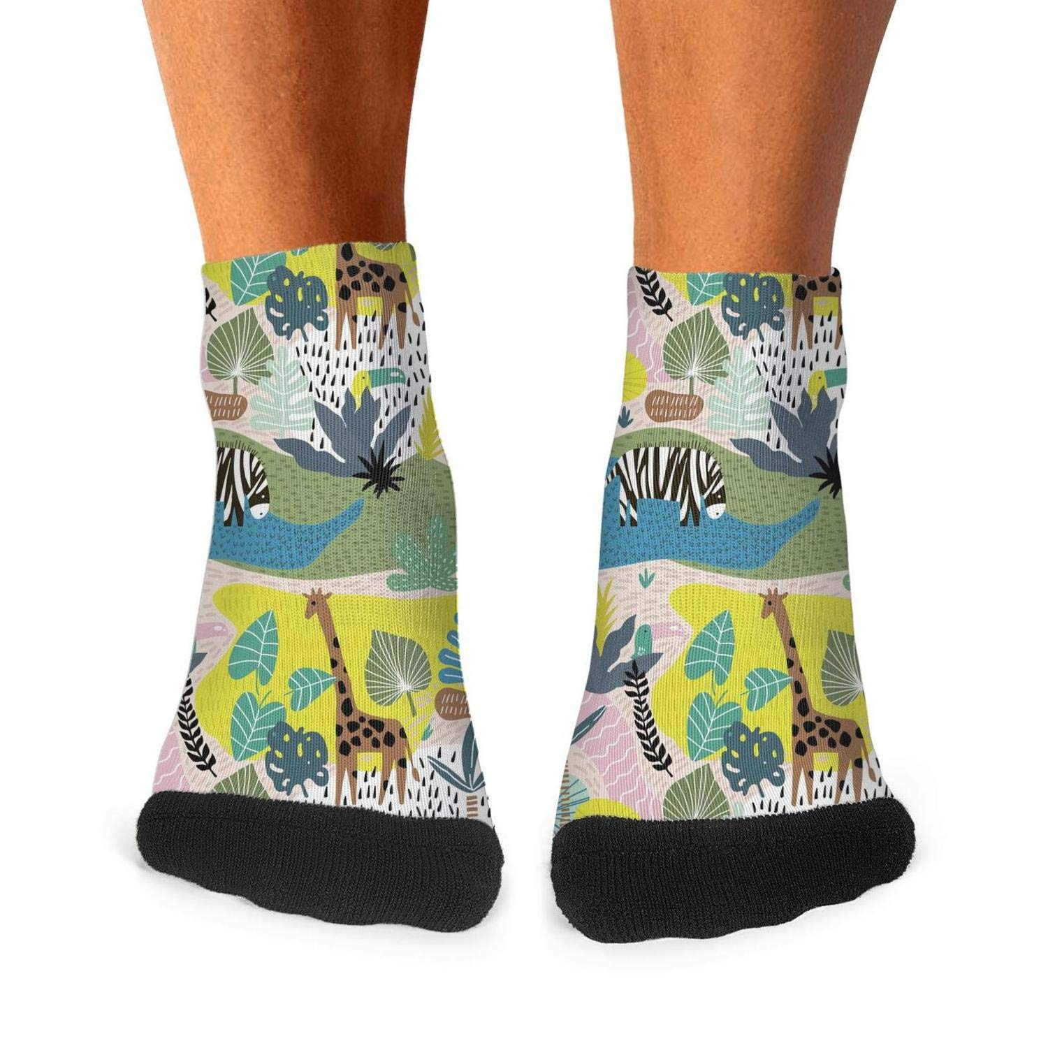 Mens Athletic Low Cut Ankle Sock Colorful Giraffe Zebra Toucan Short Cute Sock