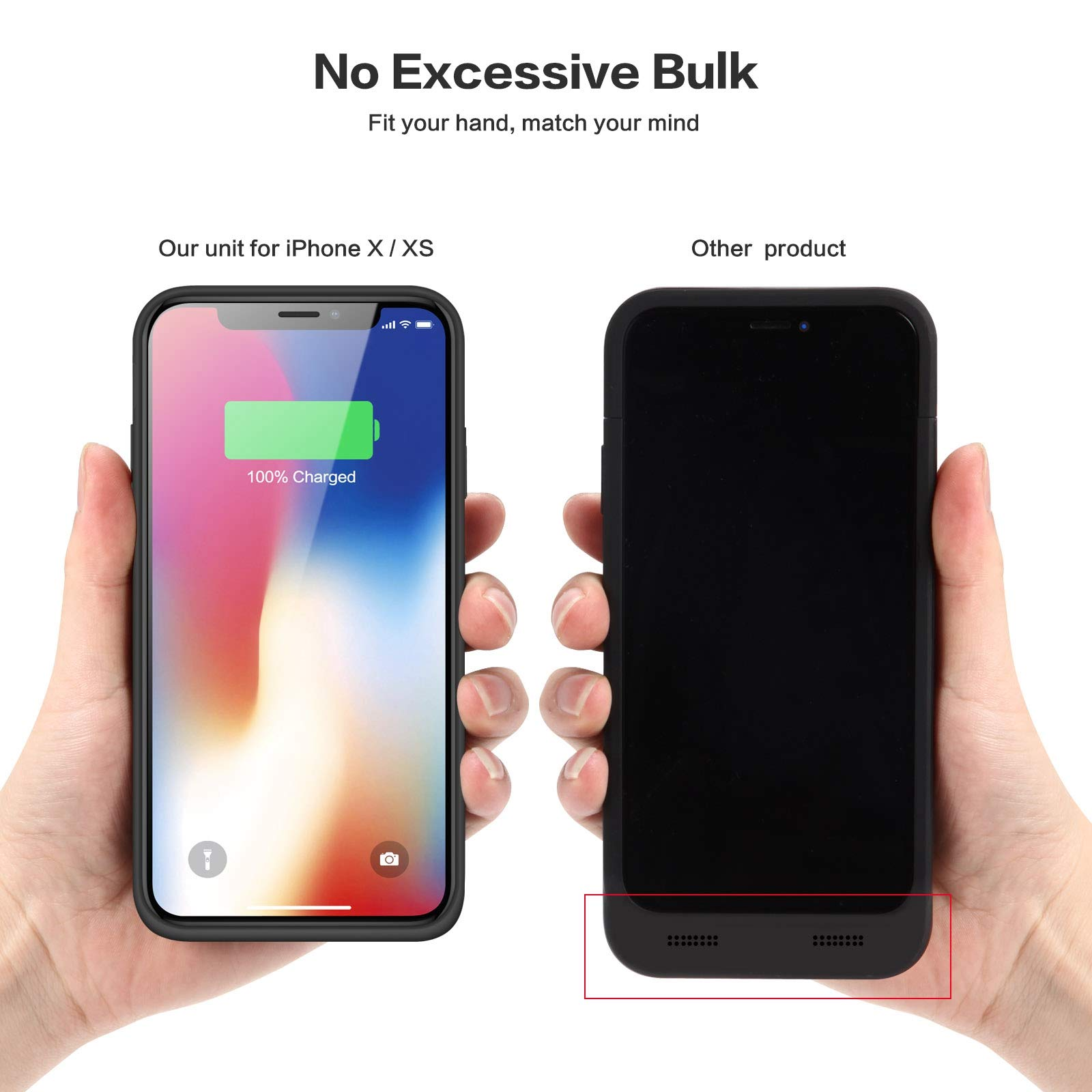 Battery Case for iPhone X/Xs, [6500mAh] Xooparc Protective Portable Charging Case Rechargeable Extended Battery Pack for Apple iPhone Xs&X (5.8') Backup Power Bank Cover - Black by Xooparc (Image #3)