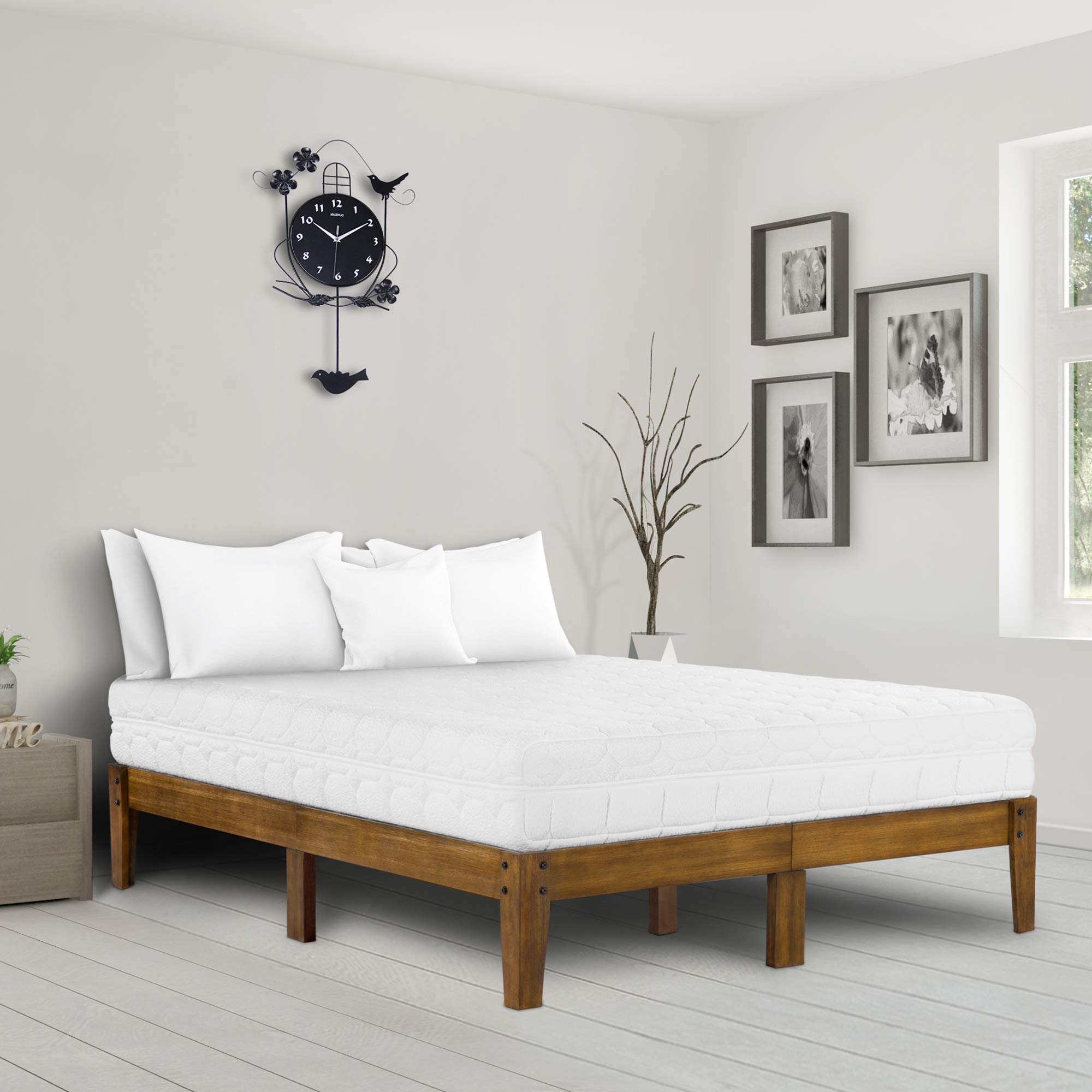 Ecos Living 14 Inch High Rustic Solid Wood Platform Bed with Natural Finish/No Box Spring/No Squeak (Light Brown, Queen)