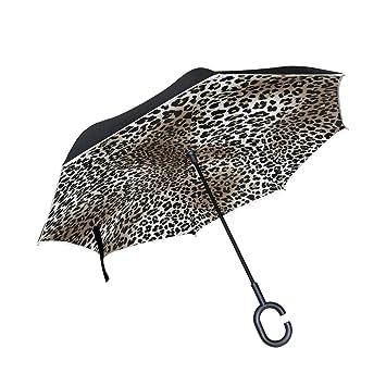 Mnsruu Paraguas invertido con Estampado de Leopardo, Doble Capa, Paraguas Plegable Resistente al Viento