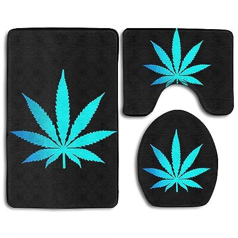 Amazon.com: Alfombra de baño de 3 piezas – azul Cannabis ...