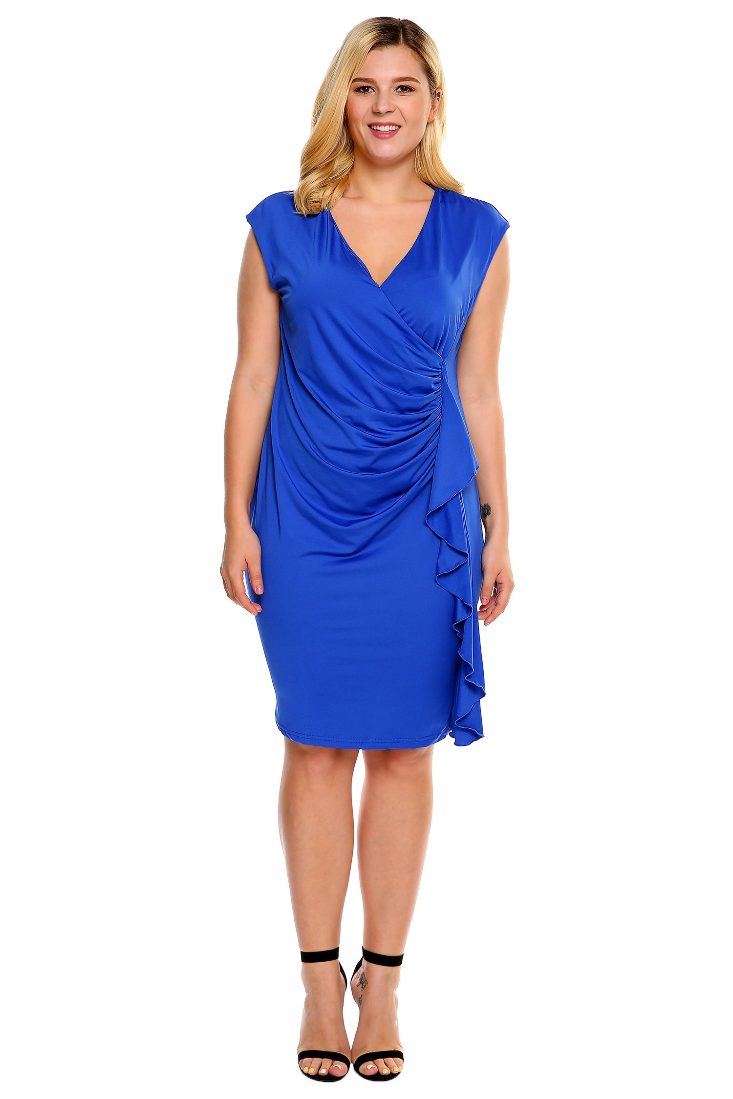 IN'VOLAND Women Plus Size Side Ruched Wrap Ruffle Dress