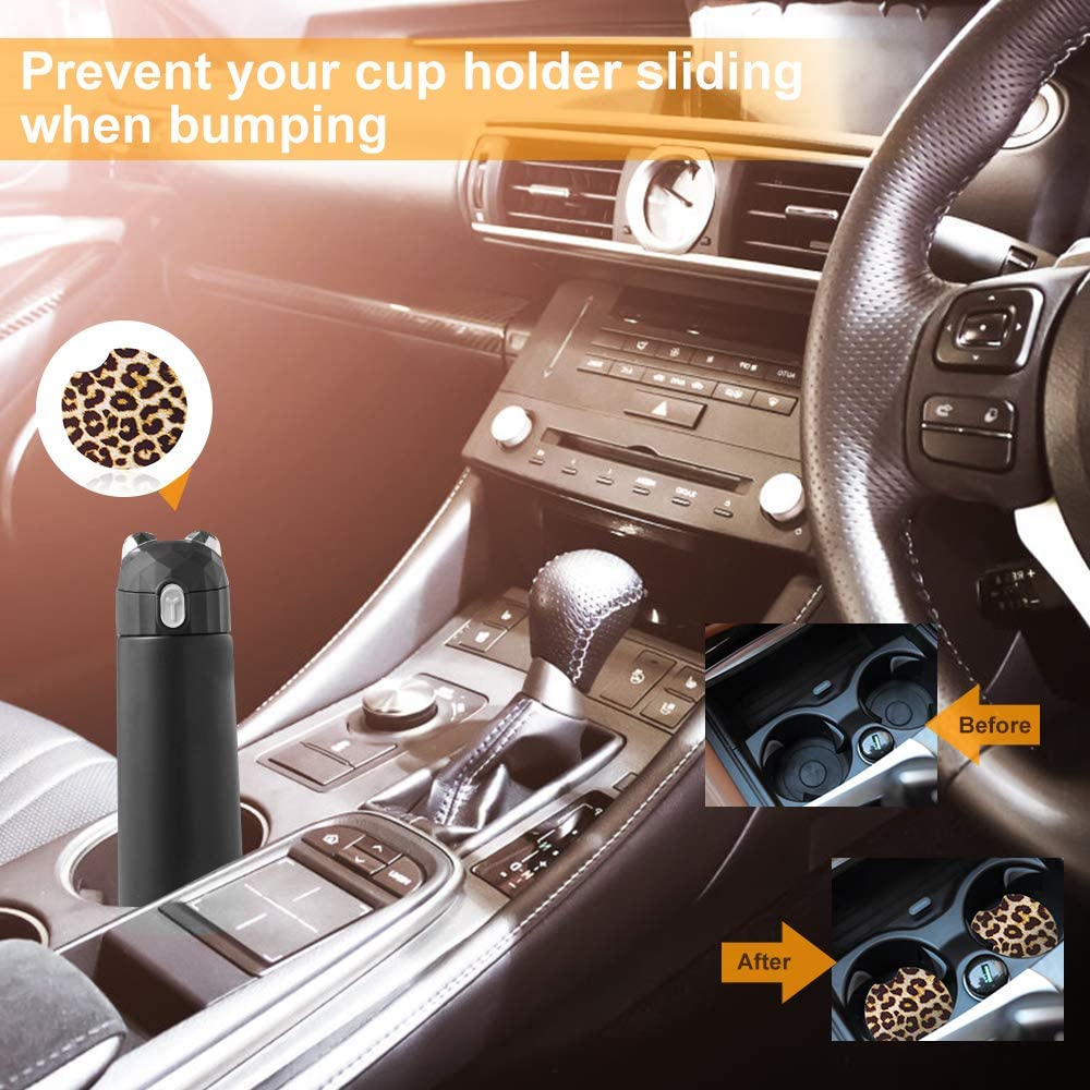 Hicdaw 4Pcs Leopard Car Accessories Leopard Steering Wheel Cover for Women with Leopard Steering Wheel Cover Sunflowers Keyring Car Vent Seat Belt