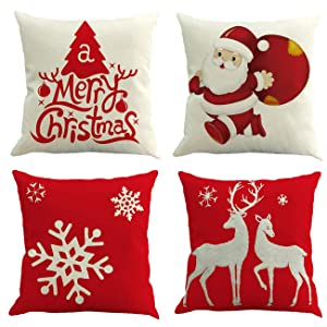 """Ogrmar 4PCS 18""""x18"""" Throw Pillow Covers Christmas Decorative Couch Pillow Cases Cotton Linen Pillow Square Cushion Cover for Sofa, Couch, Bed and Car (Christmas-B)"""