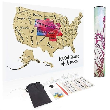 Amazon.com: JARLINK Scratch Off USA Map, 12X17 United States Map ...