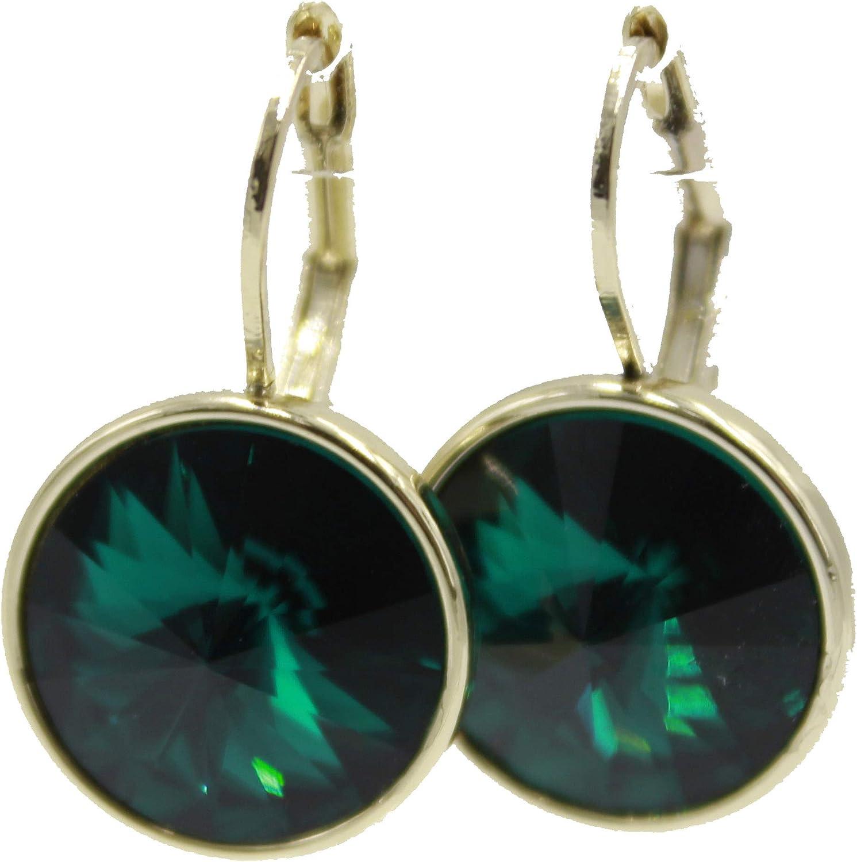Swarovski Elements - Pendientes colgantes de esmeralda verde con cierre de palanca