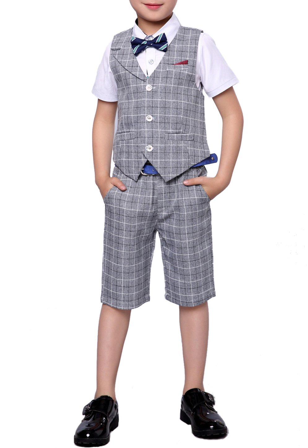 Boys Summer Suit Set 3 Pieces Shirt Vest and Shorts Set Blue Gray and Pink (6, Gray)