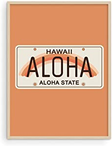 Haus and Hues Vintage Travel Posters Hawaii Surf Decor - Peach Wall Decor Aloha Signs for Home Decor Vintage Hawaii Art Travel Poster Hawaii Surfer Room Decor UNFRAMED 12