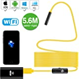 Newest Wireless Endoscope, 5.6M Yellow Semi-rigid WiFi Borescope Inspection Camera 2.0 Megapixels HD Snake Camera for Android and IOS Smartphone, iPhone, Samsung, Tablet …