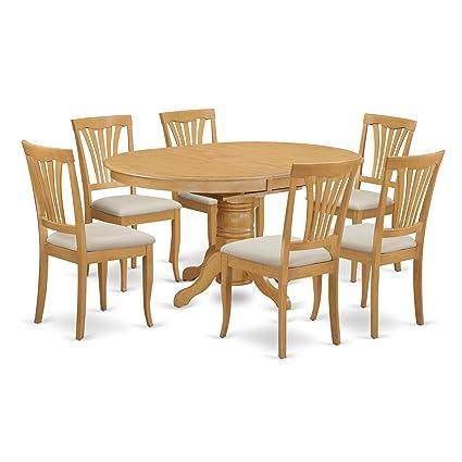 Amazon Com East West Furniture Avon7 Oak C 7 Piece Dining Table Set