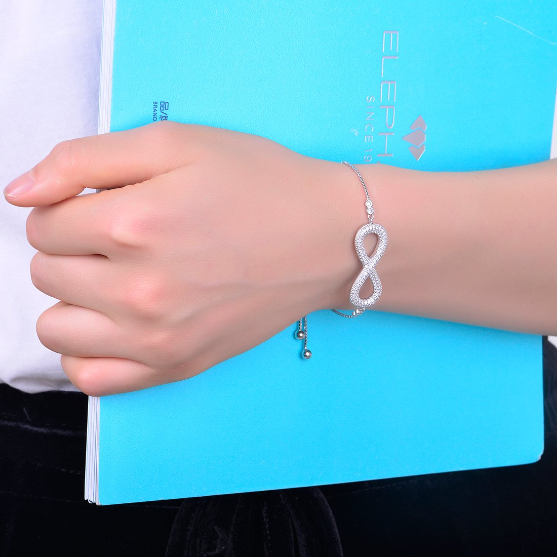 JiangXin Infinite Love Platinum Plated Bracelet for Women Girl with Adjustable Size Charm 925 Sterling Silver Fine Jewelry for Women Girls