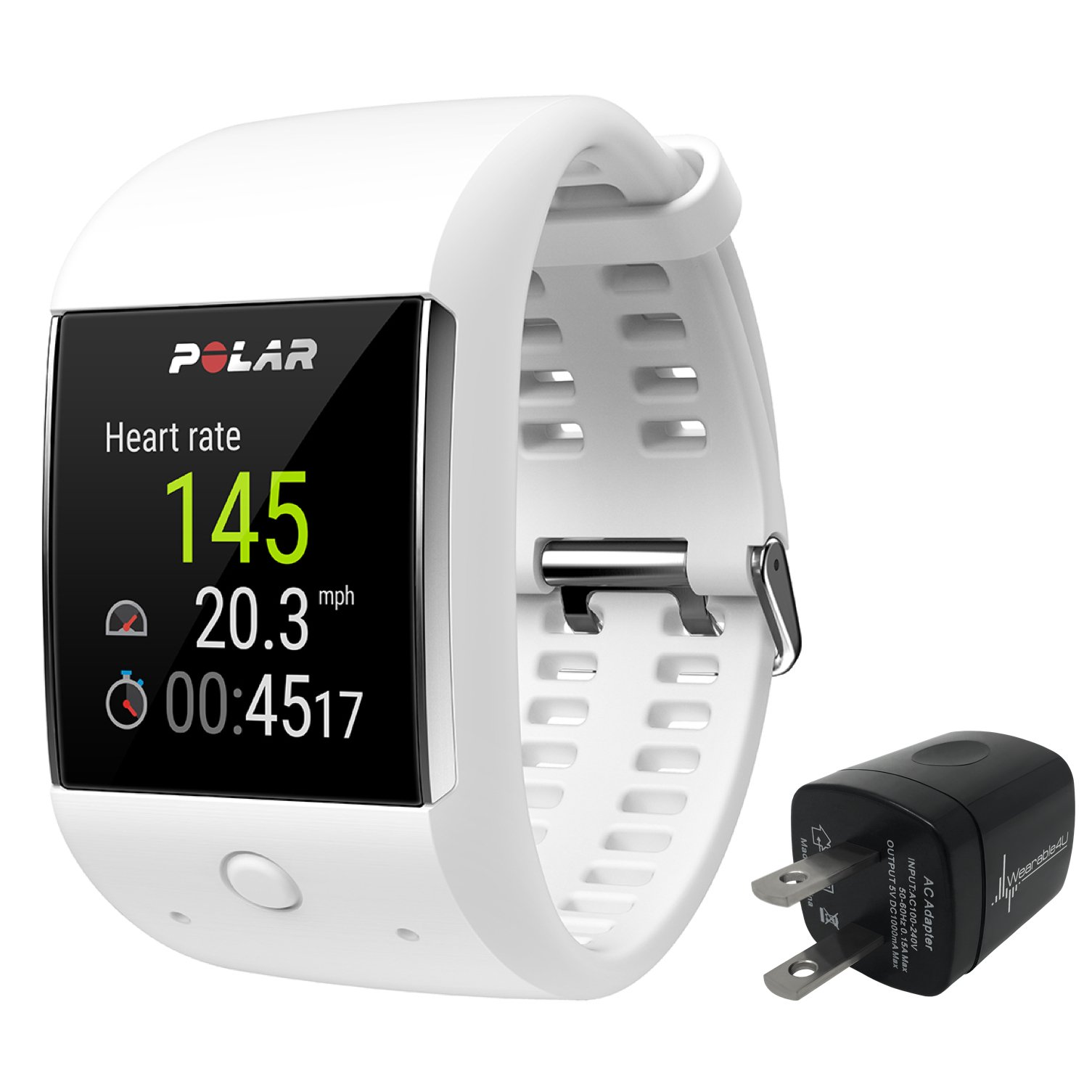 Polar M600 Sports Smart Watch With Built-In GPS and Heart Rate Monitor and Wearable4U Wall Chargind Adapter Bundle (White)