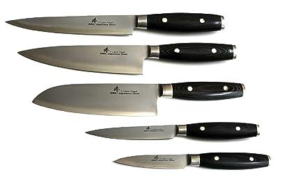 Zhen japonés VG-10 acero forjado 3 capas – Juego de cubertería juego de cuchillos