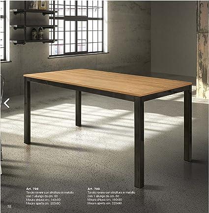 Tables Chairs Tavolo Allungabile Con Piano In Rovere E Struttura In Metallo Nero 799 Amazon It Casa E Cucina