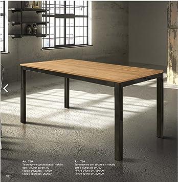 Tavolo Cucina Metallo.Tables Chairs Tavolo Allungabile Con Piano In Rovere E