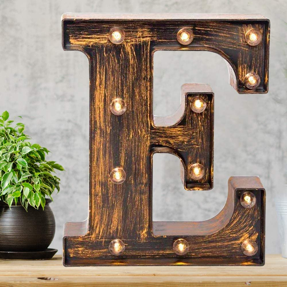 Amazon Com Pooqla Vintage Light Up Marquee Letters With Lights Illuminated Industrial Style Lighted Alphabet Letter Signs Coffee Bar Apartment Bedroom Wall Home Initials Decor E Home Kitchen