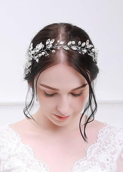 Kercisbeauty cristallo foglia e strass fascia da sposa copricapo matrimonio  capelli Vine inverno fascia cristallo corona 386212a0b35e