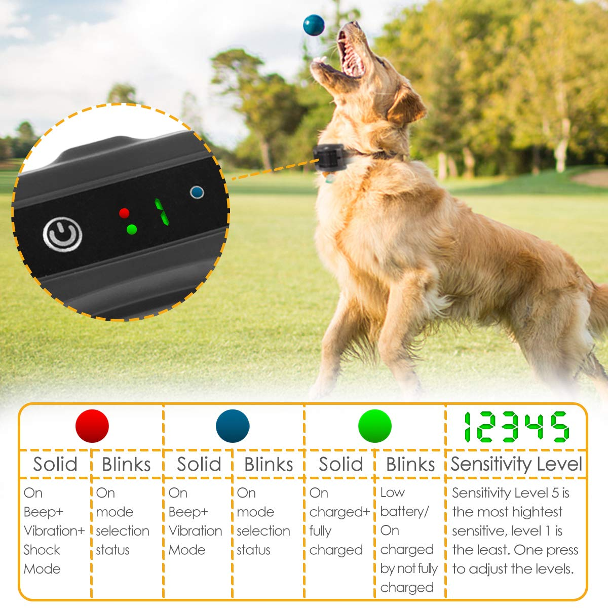 ELenest Bark Collar, 2019 Upgraded Smark Barking Control Device, Adjustable Vibration, Shock Sensitivity Level, Rechargeable Waterproof, Barking Detection for Small Large Dog, No Bark Collar by ELenest (Image #4)