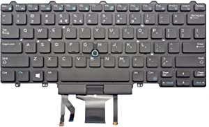 Keyboard go go go Replacement Keyboard for Dell Latitude E5450 E5470 E7450 E7470 Laptop Part Number PK1313D4B00 with Pointer with Backlight US Layout