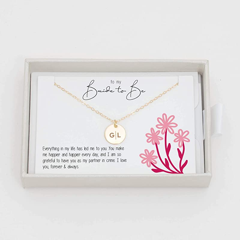 Bride Initial Wedding Letter Pink Silver Bridesmaid Necklace Personalized Jewelry Sets Glass Set of 5-10 Gift