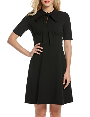 ANGVNS Women's Vintage Short Sleeve Bow Tie Flared A line Dress