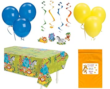 Amazon Com Zoo Animal Baby Shower Birthday Party Decorations Pack