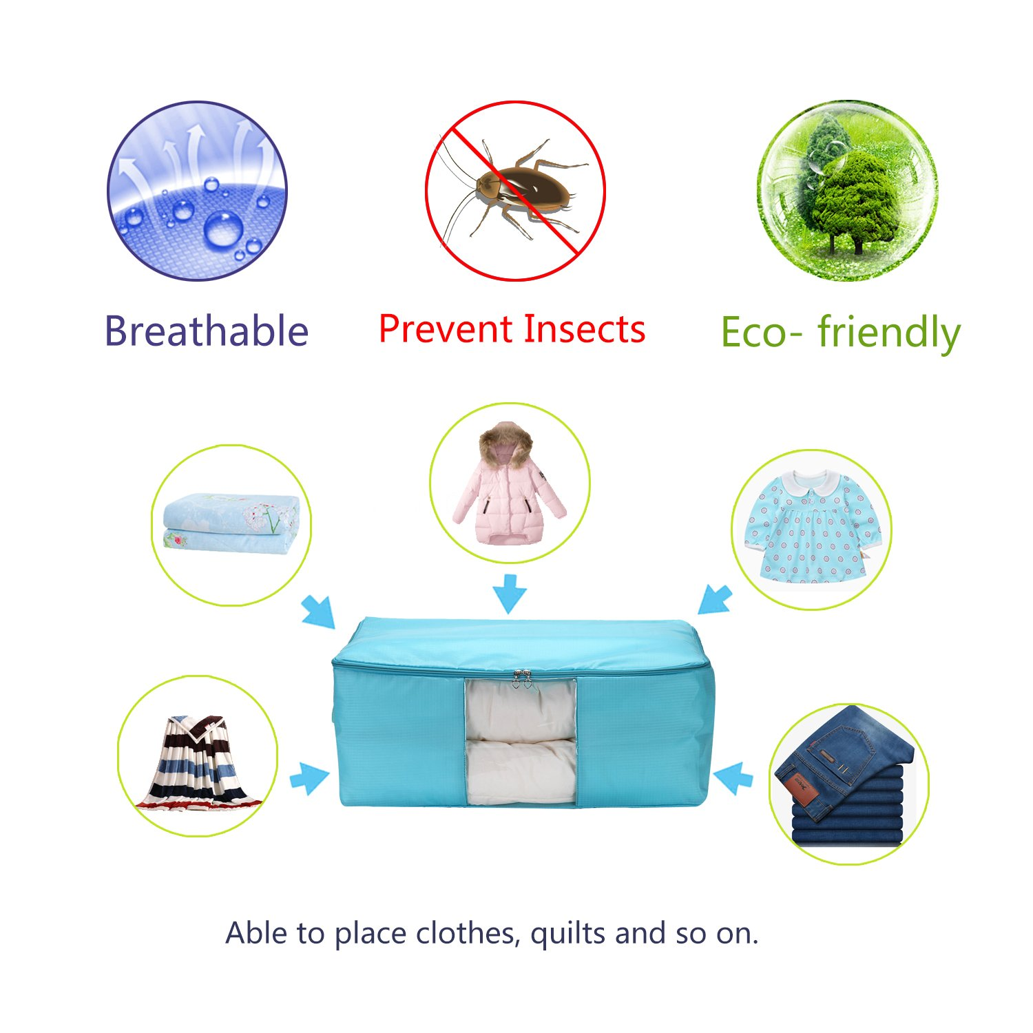 VEAMOR Comforter Storage Bags Containers,Pillow Beddings//Blanket Clothes Organizer Storage Containers with Zippers,Breathable and Moistureproof OXSky Blue 2pcs, M Gao kai