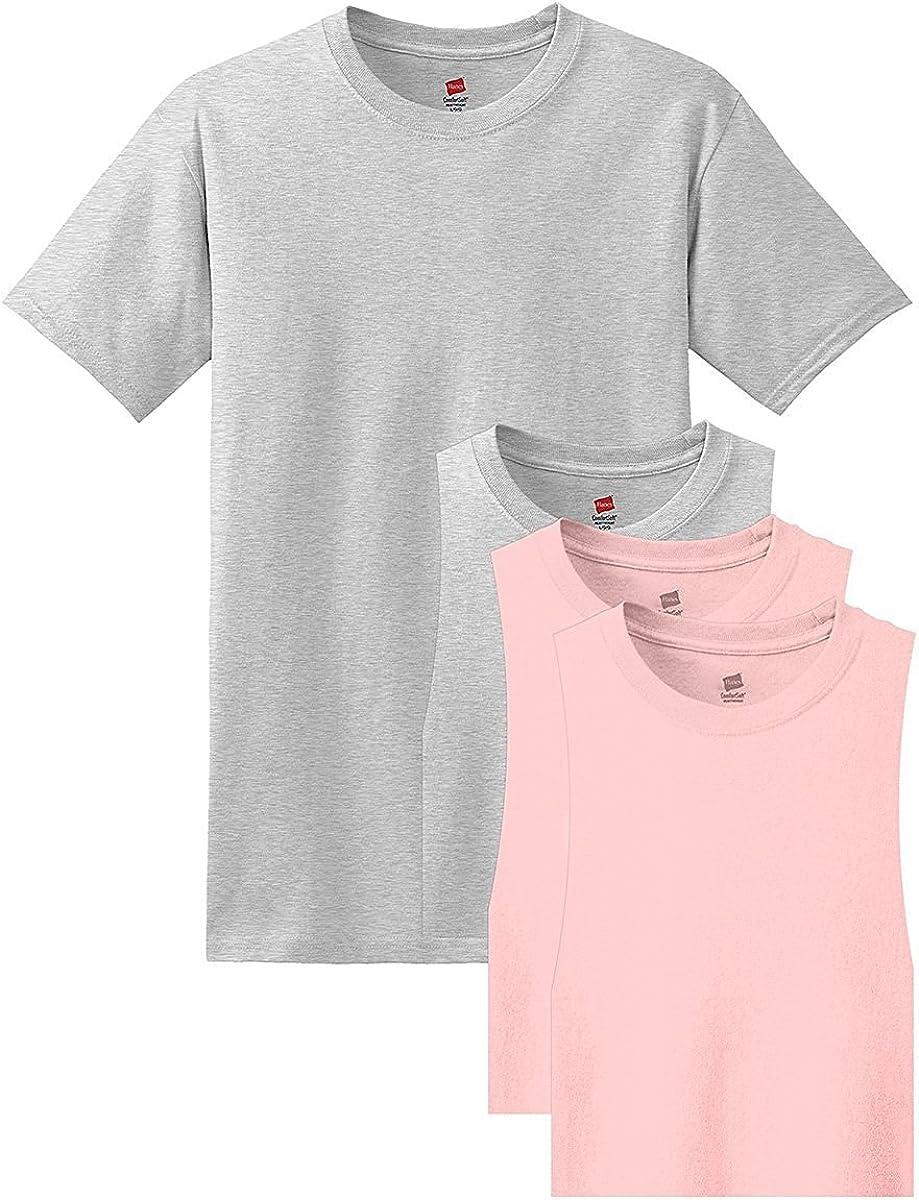 5281 Hanes 4 Pack Tees (3X-Large, Jade) 2 Ash / 2 Pale Pink