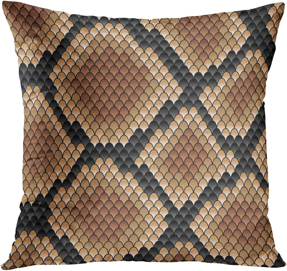 TOMKEYS Throw Pillow Cover Snakeskin Showing Scale Detail with Geometric Diamond Formation in Shades of Brown Format Also Available Decorative Pillow Case Home Decor Square 18x18 Inches Pillowcase