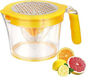 Lemon Citrus Orange Lime Fruit Juicer Manual Hand Press Squeezer with Cheese Grater Stainless Steel and Built-in Measuring Cup, Anti-Slip, Easy to Clean, BPA free, 20oz, Yellow