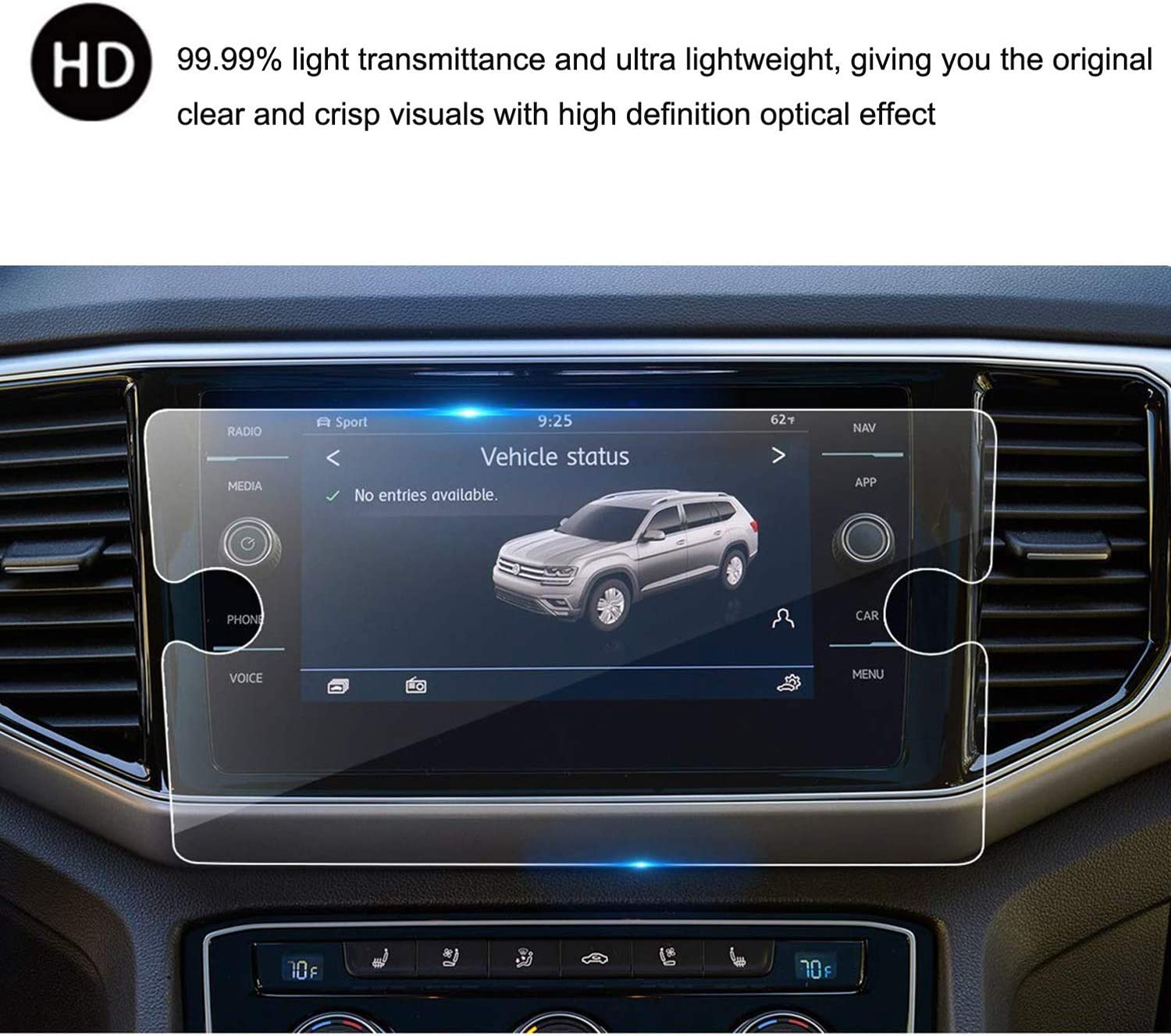 9H HeyMoly Compatible with 2018 Volkswagen Tiguan or Atlas 8 Inch Car Navigation Screen Protector, HD Tempered Glass Infotainment Center Touch Display Screen Protector
