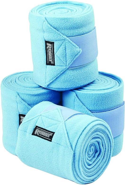 Roma - Pack de 4 vendajes Polo para caballos (Tamaño Único) (Azul ...