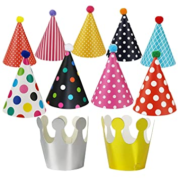 Chapter Seven 11PCS Cake Birthday Party Cone Hats for Party Decorations