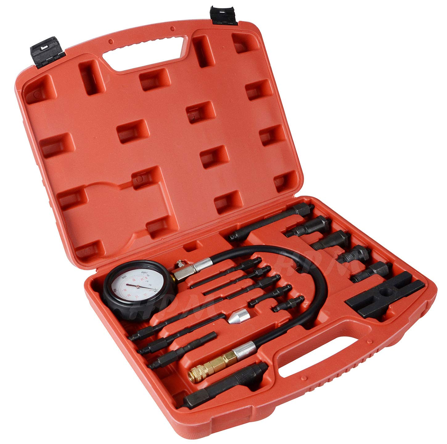 YOLO Stores - Compression Tester Diesel Engine Kit 17pc Tool Set Automotive Compressor, 0-70 Bar/0-1000 Psi, 17 Pieces by YOLO Stores (Image #2)