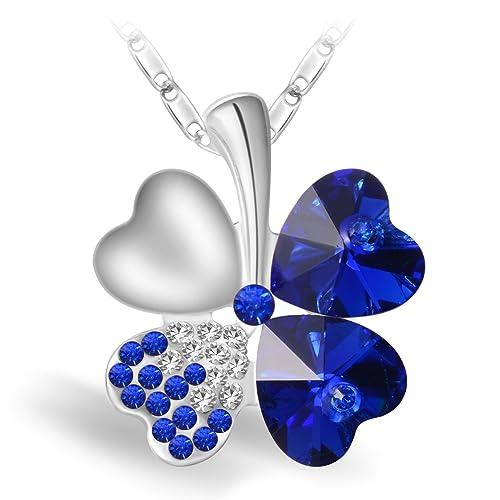 a508fb823579 Joyfulshine Collar Mujer Azul Cristales Trébol Colgante Forma del Corazón  Oro Blanco 18K Plateado