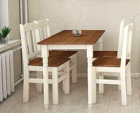 koma essgruppe kiefer holz 120 cm x 70 cm tisch und 4 stuhle landhausstil eiche
