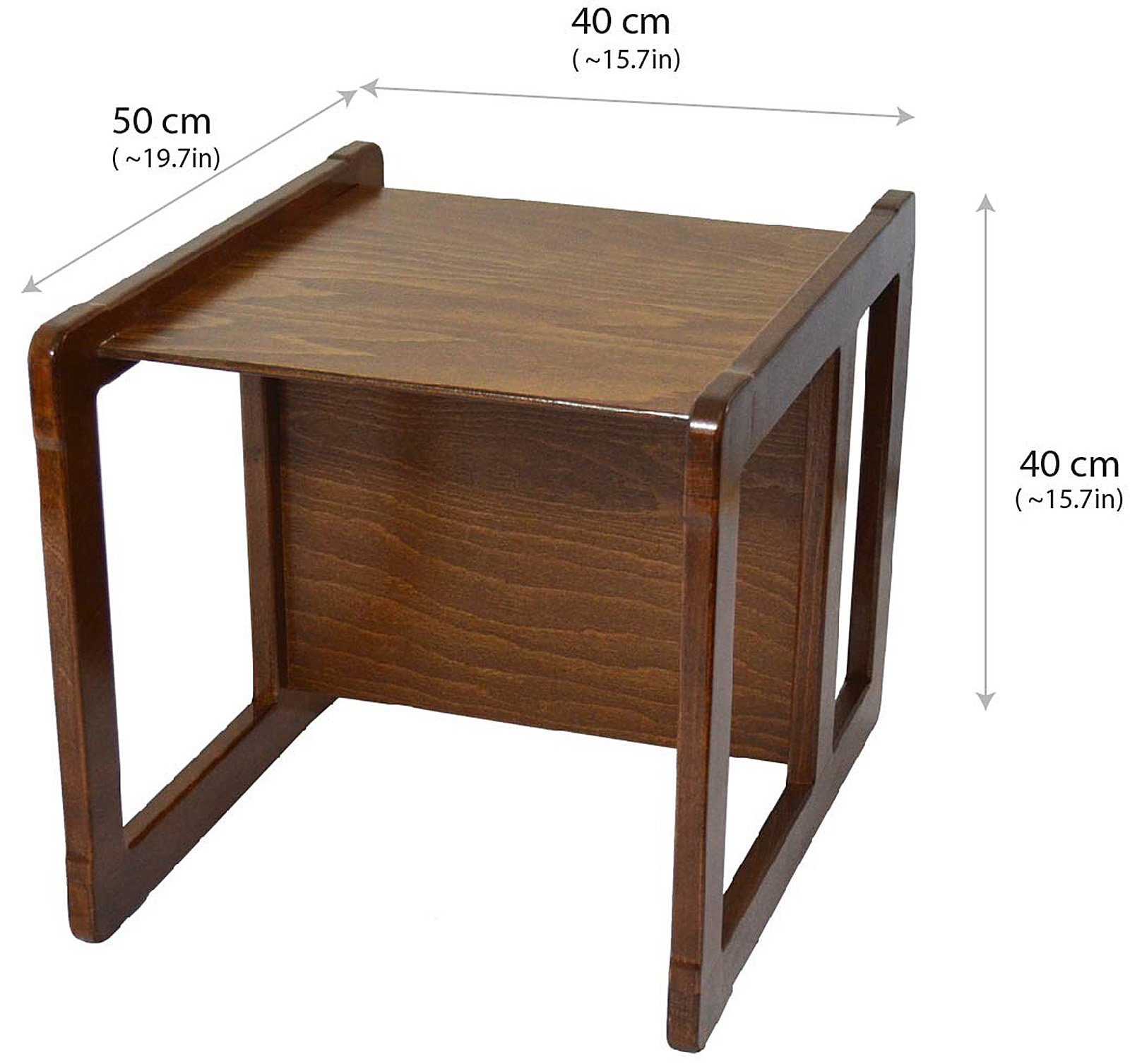 3 in 1 Childrens Multifunctional Furniture Set of 2, One Small Chair or Table and One Large Chair or Table Beech Wood, Dark Stained by Obique Ltd (Image #3)