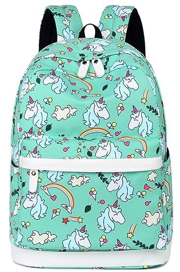 2e2b92711747 Amazon.com | School Backpack for Girls Boys Kids Travel School Bags Cute  Bookbag Holds 14-inch Laptop (Mint Green 0030) | Kids' Backpacks