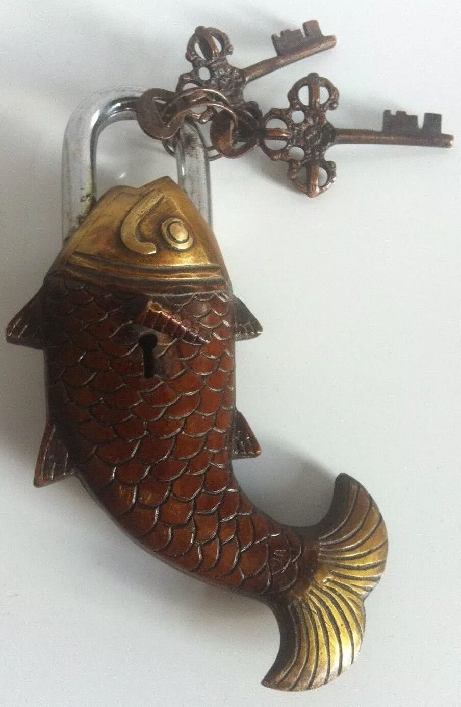 Chinese bronze ancient lock golden fish shape with key furniture old collectible